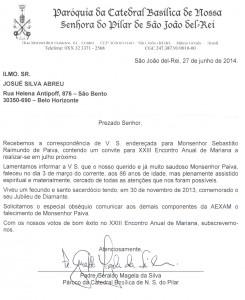 NOTA DE FALECIMENTO MONS. SEBASTIÃO REC